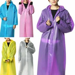 Women Waterproof Jacket Clear EVA Raincoat Long Rain Coat Ho