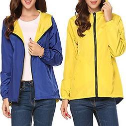 women zipper waterproof lightweight rain jacket outdoor