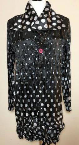 UBU Clothing Womens Black White Polka Dot Pleated Rain Coat