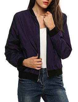 Zeagoo Womens Classic Quilted Jacket Short Bomber Jacket Coa