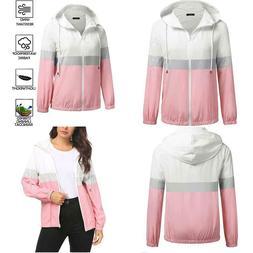 Soteer Womens Color Block Raincoat Lightweight Waterproof Ra