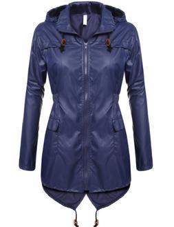 Beyove Women's Waterproof Lightweight Rain Jacket Anorak wit