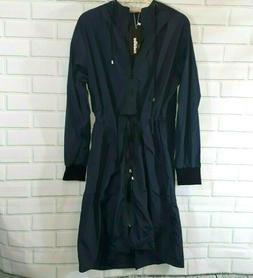 womens jacket large navy blue rain hooded