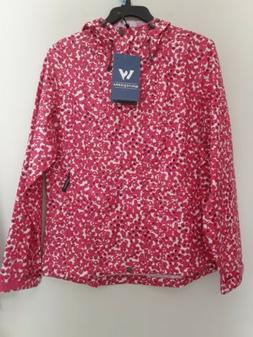 Womens jacket printed rain shell size Medium brand white sie