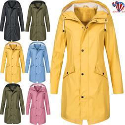 Womens Ladies Raincoat Wind Waterproof Jacket Hooded Rain Ma