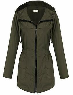 Hotouch Womens Lightweight Travel Trench Waterproof Raincoat