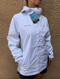 womens mesh lined waterproof rain jacket white