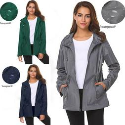 Womens Outdoor Waterproof Lightweight Raincoat Hooded Tops O