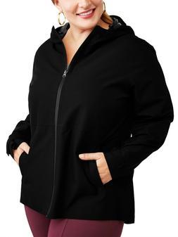 Time and Tru Womens Plus Size Lightweight Rain Jacket 3XL Bl