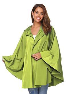 SoTeer Womens Rain Poncho Batwing-Sleeved Hooded Raincoat Wa