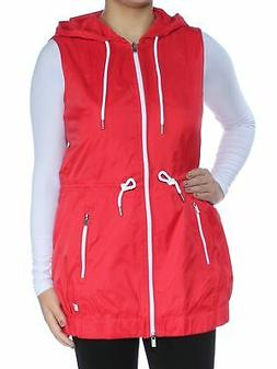TOMMY HILFIGER Womens Red Zippered Rain Coat Jacket S