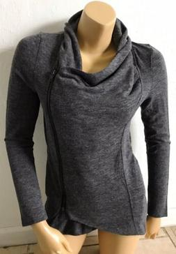 SWEET RAIN Womens Size Small Gray Zip Front Long Sleeve Swea