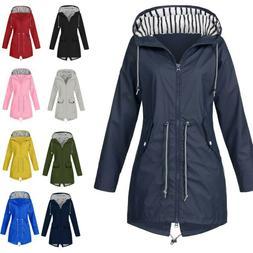 Women's Solid Rain Jacket Outdoor Jackets Waterproof Hoode