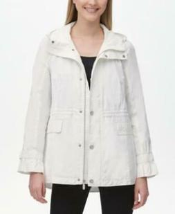 Calvin Klein Womens White Hooded Anorak Rain Jacket $160 Sz