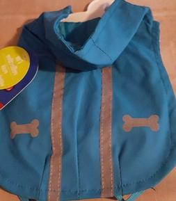 XS or M Blue Reflective Rain Pet Dog Jacket w Leg Straps