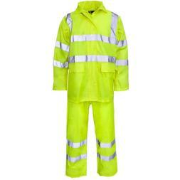 Supertouch Yellow Hi Vis Polyester PVC Rain Suit Jacket Trou