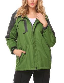 Zeagoo Women's Waterproof Raincoat Thickening Fleece Outdoor