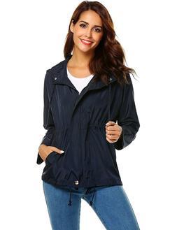 Zeagoo Women Waterproof Rain Jacket Hoodie Windproof Outdoor